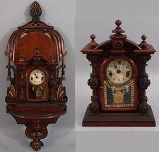 Rare Antique Miniature Rosewood, Welch Mini Patti 8-Day Clock & Eastlake Shelf
