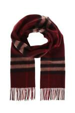 Burberry Classic Giant Check Cashmere Claret Red Scarf