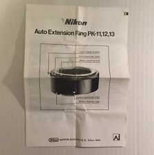 Nikon Camera Lens Auto Extension Ring PK-11, PK-12, PK-13 - Instruction Manual