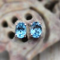 Natural Delicate Blue Topaz Oval Stud Earring 925 Sterling Silver Ear Stud