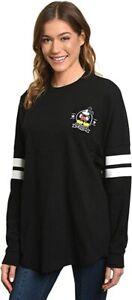 Disney Jersey Women's Mickey Mouse Long Sleeve Crew Neck Black Size Large