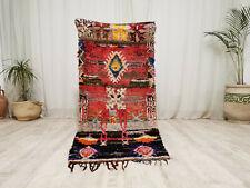 Moroccan Vintage Handmade Wool Cotton Rug 2'3x5'2' Berber Tribal Colorful Carpet