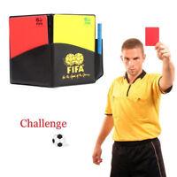 Schiedsrichter Karten Rot / Gelb Fußball Sport Wallet Notebook Bleistift Fussbal