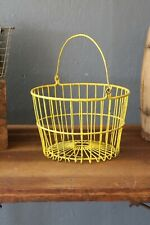 Vintage Egg Basket Yellow Wire Handle Farmhouse Decor Apples Fruit etc primitive