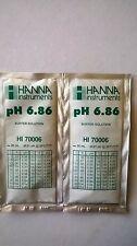 2  X HANNA PH METER BUFFER CALIBRATION SOLUTION SACHETS  HI 70006  6.86 pH