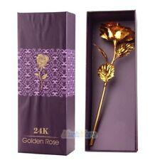 24K Gold Plated Rose Flower Christmas Gift Birthday Romantic Golden Flower w/Box