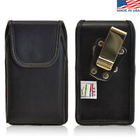 iPhone 4S Leather Cell Phone Vertical holster Case Metal Belt Clip Fits Otterbox