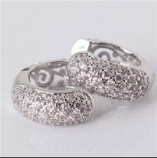 Beautiful White Gold Plated Small Hoop High Quality Crystal Earrings