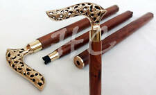 Solid Brass Engraved Handle Vintage Style Walking Stick Victorian Wooden Cane