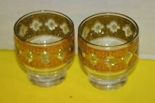 "Valencia by Culver Set of (4) 2-7/8"" Green/Gold Filigree Whiskey Drink Glasses"