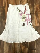 NEW Da-Nang Surplus Women's Embroidered Side Zip Silk White Skirt SKG335971 XS