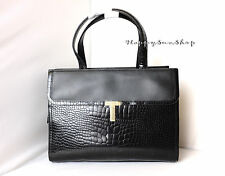 TED BAKER Kissels Classic T Clasp Hand Bag Tote Bag Black