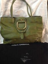New Dolce & Gabbana Green Pebble Leather Lg Tote Shoulder Purse Designer Bag