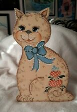Hand Painted Wooden Rustic Cat Kitty Doorstop