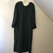 Flax by Jeanne Engelhart Womens Green Lagenlook Linen Dress Size M