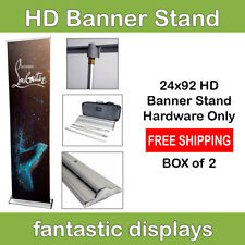 "24"" Retractable Banner Stand Pro HD Roll Up Display Trade Show Exhibit BOX of 2"