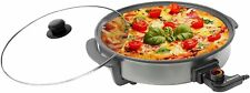 Ovente Round Electric Frying Pan, Granite w/Tempered Glass Lid, 12in. NEW