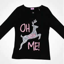 Kids Girls Novelty Reindeer Sparkly Silver T-Shirt Top Sparkle Long Sleeve