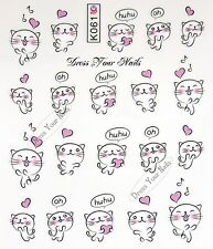 Water Decals - Cute Cats Hearts Nail Stickers Childrens Cartoon - KO-61 Uk