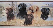 "LABRADOR RETRIEVER DOGS DUCK HUNTING Wallpaper Border 9 1/2"""