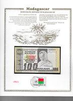 Madagascar Banknote 100 Francs 1974 P 63 UNC w/FDI UN FLAG STAMP Prefix A/61