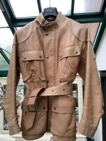 BELSTAFF PANTHER CLASSIC LEATHER BELTED JACKET LIGHT BROWN RRP £1000 Size 44 S/M