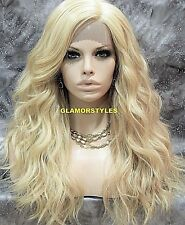 Long Wavy Bangs Light Blonde Mix Full Lace Front Wig Heat Ok Hair Piece #F613.27