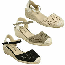 F2252 LADIES CLOSED TOE SLINGBACK BUCKLE ANKLE STRAP WEDGE SANDALS ANNE MICHELLE