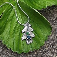 Raw Stone Emerald Oak Leaf Necklace Sterling Silver Necklace Pendant UK HANDMADE
