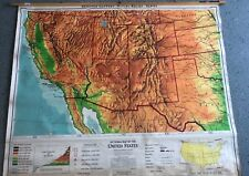 Vintage CLOTH roll up map 1 Layer United States Vintage, Salvage, Old, Antique.