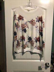 Lularoe 3XL White Floral New Lizzy Mesh Top Slinky Shirt