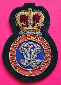 7th Queen's Own Hussars regimental bullion wire blazer badge