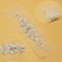 HOT Tulle & Crystal Rhinestone Sewing Applique for Wedding Dress Belt Sash Craft