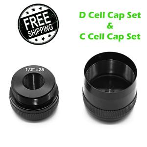 For Maglite flashlight D Cell Cap Set 1/2-28 Aluminum End Caps Black replacement