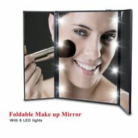 8 LED Light Foldable Illuminated Make Up Cosmetic Tabletop Beauty Vanity Mirror