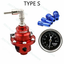 Red TOMEI Adjustable Fuel Pressure Regulator Universal With Gauge+Instructions