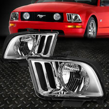 FOR 2005-2009 FORD MUSTANG S197 PAIR CHROME HOUSING CLEAR CORNER HEADLIGHT/LAMP