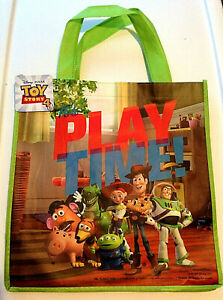 "Disney Toy Story 4 Woody Buzz Rex Reusable Tote Gift Bag 14""x 13"" It's Play Time"