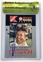Mario Andretti signed card indy car daytona 500 champ beckett coa