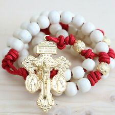 Rosary Red Paracord Natural Wood Gold Wearable Rope Cord Catholic Rosario