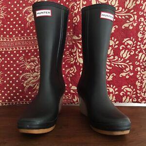 Hunter Jessica Wedge Rain Boots Womens Size 8US