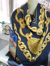 NEW  BLUE & GOLD LARGE Vintage ITALIAN 47 X 47 HEAD COVER Scarf /Shawl  WRAP