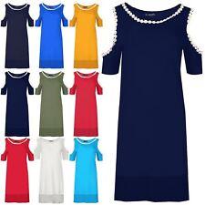 Women Casual Hi Lo Lace Neck Dress Ladies Short Cold Cut Out Shoulder Mini Dress