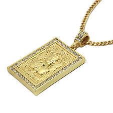 """Mens 14K Gold Plated Malverde Pendant Hip-Hop 3mm/30"""" Cuban Chain pendant"""