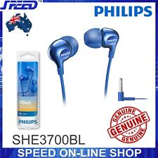 PHILIPS SHE3700BL Headphones Earphones - Pumping Bass - BLUE Color - GENUINE