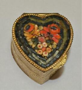 50s Italy Goldfarbig 3D Schwarz Rosa Weiß Mikro Mosaik Herz Form Higed Pillenbox