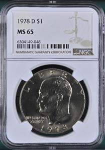 :1978 D $1 Eisenhower Dollar Clad Gem-BU NGC MS-65 Low Pop R2 Highest Grades