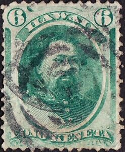 Hawaii - 1871 - 6 Cents Yellow Green Kamehameha #33 w Concentric Rings Cancel