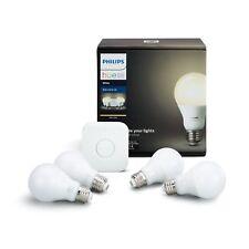 Philips Hue White Smart Bulb Starter Kit (4 A19 Bulbs and 1 Bridge Compatible.