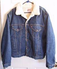 Vintage USA Levis Sherpa Lined Dark Denim Trucker Jean Jacket Men's 46 L
